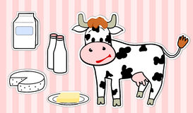 Cow. Cartoon cow and milk products Royalty Free Stock Photos