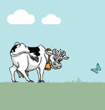 Cow. In field with blue sky and clouds Vector Illustration