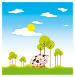 Cow. Eating grass, the artwork made with the vector based software Royalty Free Stock Photo