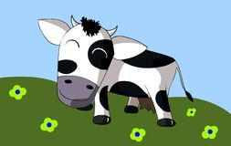 Happy Cow in a meadow with flowers. An happy cow is grazing in a beautiful meadow full of flowers Stock Images