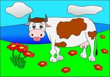 Cow. Agriculture animal farm grass farmland flowers Stock Photo