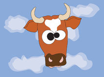 Cow. Head of a cow against the dark blue sky Royalty Free Stock Images