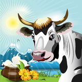 Cow. Illustration, cow on glade with daisywheel on background milk Royalty Free Stock Photos