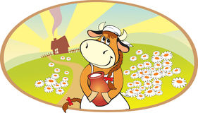 Cow. Cartoon cow with jug on the country landscape stock illustration