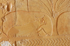 Cow. Ancient egyptian bas-relief sculpture of a cow resting in the shade of a tree. From the expedition to Punt in the temple of Queen Hatshepsut Stock Images