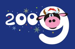 Cow and 2009 number Stock Photography