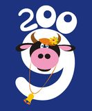 Cow and 2009 number. Illustration with cow and 2009 number on blue background Stock Images