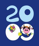 Cow and 2009 numbers. Background with cow and 2009 numbers Royalty Free Stock Photography