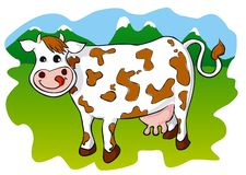 Cow. Illustration of a cute cow on the meadow. Vector (eps) and high resolution JPEG Stock Photos