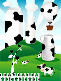 Cow. Illustration of the pattern of pasture and milk Holstein cows Royalty Free Stock Photography