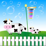 Cow. Background illustration of cattle and carp Vector Illustration