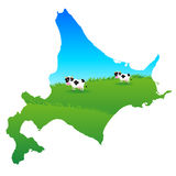 Cow. Illustration of map of Hokkaido nature no background Stock Illustration