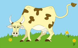 Cow. Cute cow grazing in a babyish natural scenery stock illustration