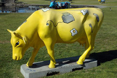 Cow. This cow is part of the hundreds of cows that are part of the City of Greater Sheppartion in Victoria Australia. the promotion is called Moooving Art (yes Stock Image