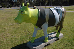 Cow. This cow is part of the City of Greater Sheppartion in Victoria Australia, promotion. The Mooving Art, is a public exhibition prepared by local and Stock Photography