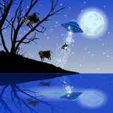 Cow Abduction UFO night moon. Illustration. Use wallpaper for, the website, smart phone, tablet PC, printing, etc Vector Illustration
