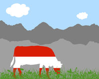 Cow alp and austrian flag Royalty Free Stock Image