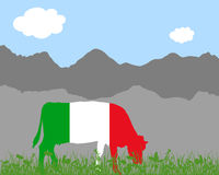 Cow alp and italian flag Royalty Free Stock Image