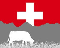 Cow alp and swiss flag Royalty Free Stock Images