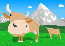 Cow in the alps. Illustration of funny cow in the alps royalty free illustration