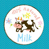 Cow And Milk Funny Label Royalty Free Stock Photo