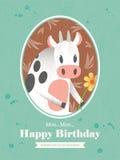 Cow Animal Cartoon Birthday card design Stock Photos