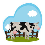 Cow animal farm in the field. Illustration design Stock Image
