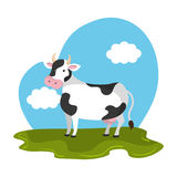 Cow animal farm in the field. Vector illustration design Royalty Free Stock Photos