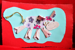 Cow. Aplique work handmade by a child Royalty Free Stock Photos