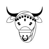 Cow as Sacred animal icon. Indian Culture design. Vector graphic Stock Photography