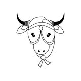 Cow as Sacred animal icon. Indian Culture design. Vector graphic Stock Images