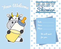Cow with baby bottle stock illustration