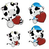 Cow baby cartoon heart set Stock Photos