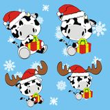 Cow baby cartoon xmas set Stock Images