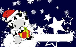 Cow baby claus cartoon background. Xmas cute animal baby cartoon background in vector format very easy to edit Royalty Free Stock Photos