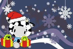 Cow baby claus cartoon xmas background. Animal baby claus cartoon xmas background in vector format very easy to edit Stock Images