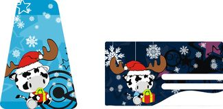 Cow baby claus cartoon xmas giftcard. Animal baby claus cartoon xmas giftcard in vector format very easy to edit Royalty Free Stock Images