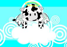 Cow baby cute angel cartoon background Stock Image