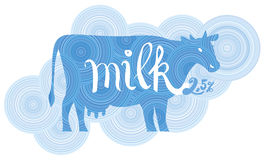 Cow on the background of blue circles Vector illustration for pa. Ckaging and labels of dairy products Royalty Free Stock Photo