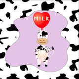 Cow with ballon. With inscription milk in the frame stock illustration