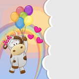 Cow with balloons. Greeting card Cute Cow is flying on balloons stock illustration