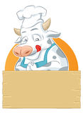 Cow and Banner. Happy cow with blank wood sign pleasing Royalty Free Stock Image