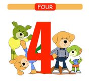 Four. Collection number for kindergarten and preschool. Learn number 4. Dogs. royalty free illustration