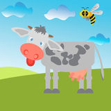 Cow and bee in a field. royalty free illustration