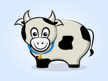 Cow with a bell. Cute, friendly cartoon cow with a bell on a ribbon. Side view Stock Image