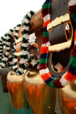 Cow bells. Cowbells in a row on the annual bavarian cattle market feast Stock Photo