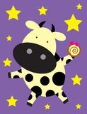 A cow birthday. A funny cow birthday greeting with a muffin cake Stock Images