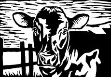 Cow. Black and white cow linocut print illustration Royalty Free Stock Photography