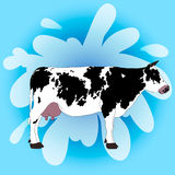 Cow on a blue background. Vector Stock Photo