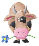 Cow with BLUE flower. Illustration of Surprised cow with BLUE flower in mouth Stock Photo